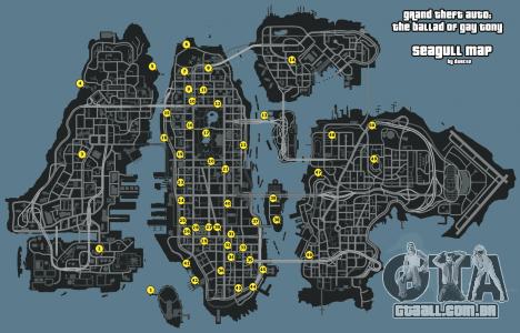 Mapa de Gaivotas GTA 4: The Ballad Of Gay Tony