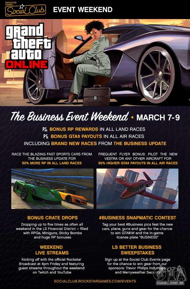 7 a 9 de março, no mundo de GTA passa «Business Weekend Social Club»