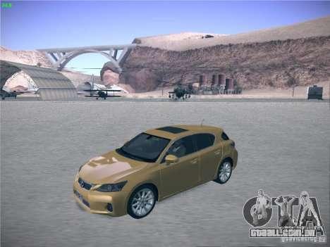 Lexus CT200H 2012 para GTA San Andreas traseira esquerda vista