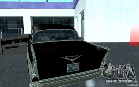 Chevrolet BelAir 4 Door Sedan 1957 para GTA San Andreas traseira esquerda vista