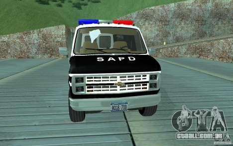 Chevrolet G20 Enforcer para GTA San Andreas esquerda vista