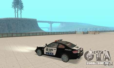 BMW M3 E92 Police para GTA San Andreas vista traseira