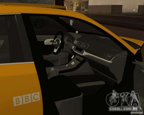 Lexus CT 200h 2011 Taxi para GTA San Andreas vista interior