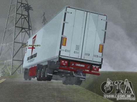 Reboque frigorífico para GTA San Andreas traseira esquerda vista