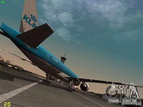 Boeing 777-200 KLM Royal Dutch Airlines para GTA San Andreas vista direita