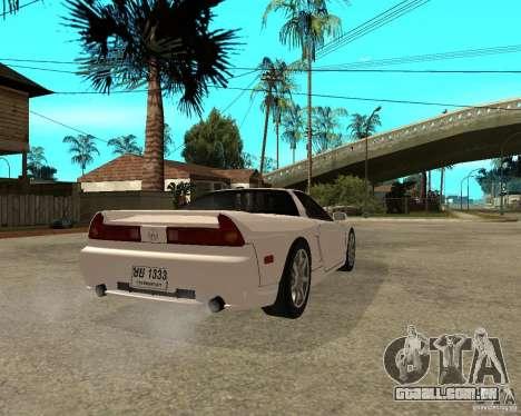 Acura/Honda NSX para GTA San Andreas traseira esquerda vista