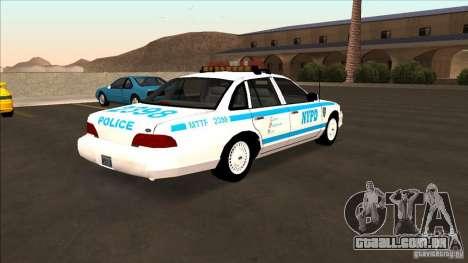 Ford Crown Victoria 1992 NYPD para GTA San Andreas traseira esquerda vista