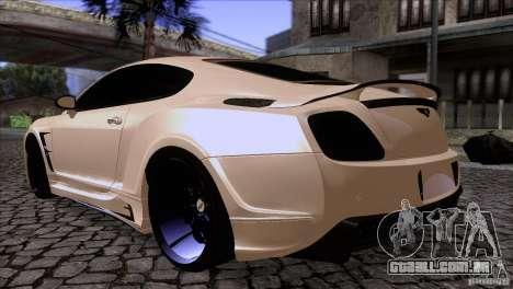 Bentley Continental GT Premier 2008 V2.0 para GTA San Andreas vista traseira