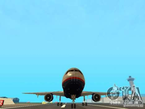 McDonell Douglas DC10 United Airlines para GTA San Andreas vista traseira