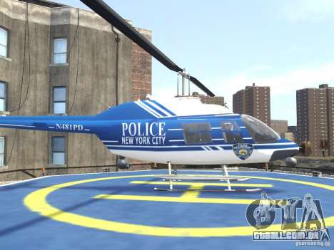 Bell 206 B - NYPD para GTA 4 esquerda vista