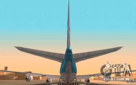 Boeing-747 Corsair Fly para GTA San Andreas vista traseira