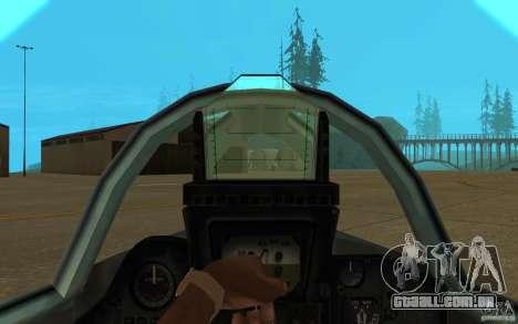 MiG-23 para baixo o Flogger para GTA San Andreas vista interior