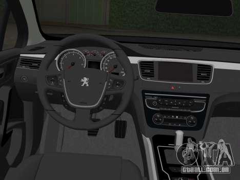 Peugeot 508 e-HDi 2011 para GTA Vice City vista traseira esquerda
