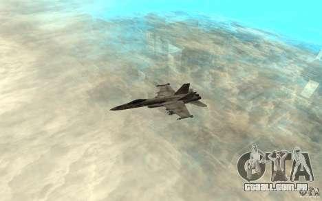 F-18 Hornet para GTA San Andreas traseira esquerda vista
