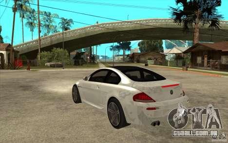 BMW M6 Coupe V 2010 para GTA San Andreas traseira esquerda vista
