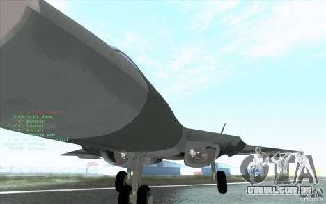 SU t-50 Pak FA para vista lateral GTA San Andreas