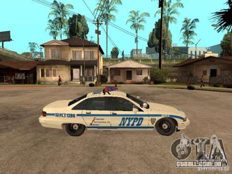 NYPD Chevrolet Caprice Marked Cruiser para GTA San Andreas traseira esquerda vista