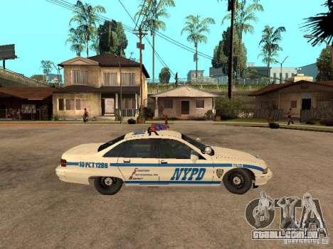 NYPD Chevrolet Caprice Marked Cruiser para GTA San Andreas traseira esquerda vista
