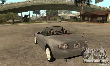 Mazda MX-5 2007 para GTA San Andreas traseira esquerda vista