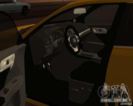 Lexus CT 200h 2011 Taxi para GTA San Andreas vista traseira