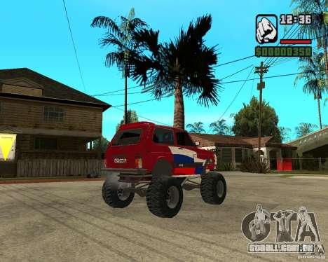 VAZ-21213 4x4 Monster para GTA San Andreas vista traseira