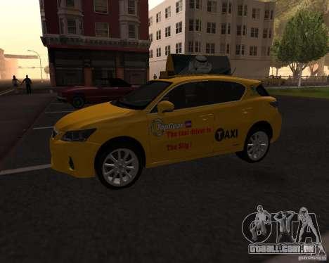 Lexus CT 200h 2011 Taxi para GTA San Andreas esquerda vista