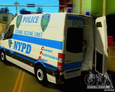 Mercedes Benz Sprinter NYPD police para GTA San Andreas vista traseira