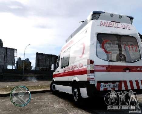 Mercedes Sprinter Turkish Ambulance para GTA 4 vista direita