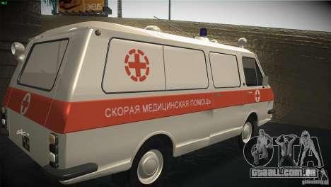 RAF 22031 ambulância para GTA San Andreas vista traseira