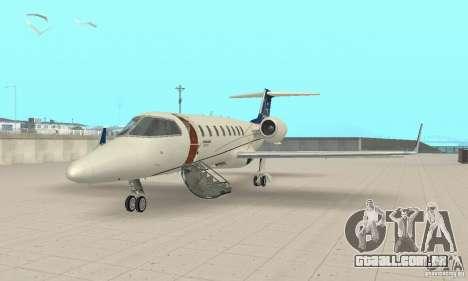 Bombardier Leardjet 45XR para GTA San Andreas esquerda vista
