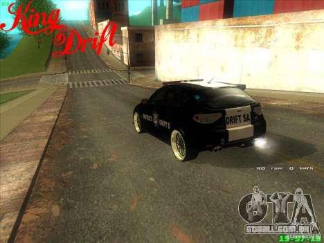 Subaru Impreza WRX Police para GTA San Andreas traseira esquerda vista