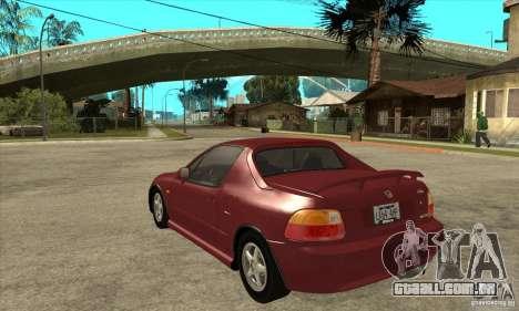 Honda CRX - DelSol para GTA San Andreas traseira esquerda vista