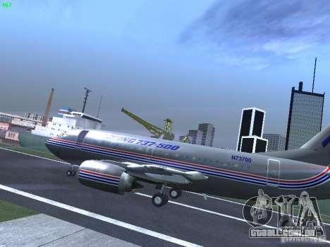 Boeing 737-500 para GTA San Andreas traseira esquerda vista