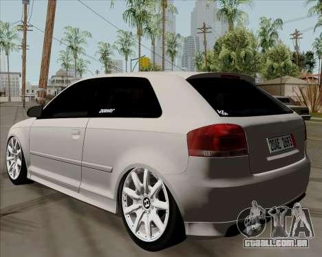 Audi S3 V.I.P para GTA San Andreas esquerda vista