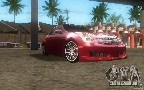 Infiniti G35 - Stock para GTA San Andreas vista traseira
