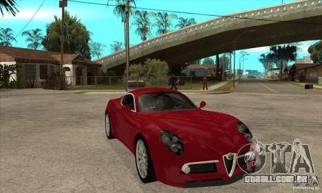 Alfa Romeo 8 c Competizione estoque para GTA San Andreas vista interior