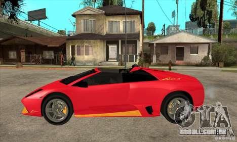 Lamborghini Murcielago LP650 para GTA San Andreas esquerda vista