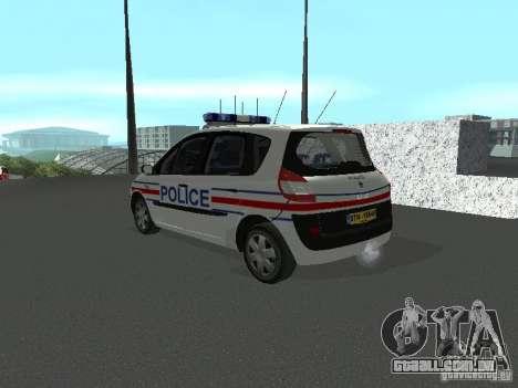 Renault Scenic II Police para GTA San Andreas esquerda vista