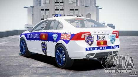 Volvo S60 Macedonian Police [ELS] para GTA 4 traseira esquerda vista