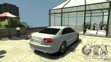 Audi A8 4.2 QUATTRO beta para GTA 4 traseira esquerda vista