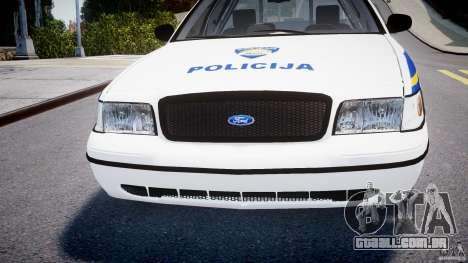 Ford Crown Victoria Croatian Police Unit para GTA 4 vista superior