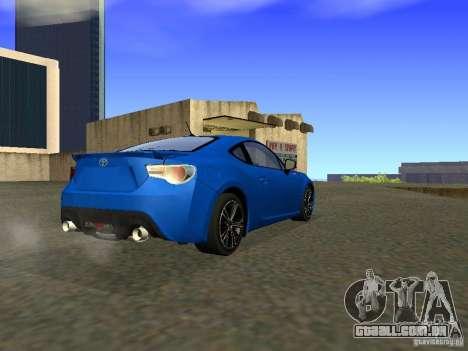 Toyota GT86 Limited para GTA San Andreas vista direita