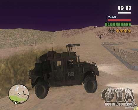 Hummer H1 do COD MW 2 para GTA San Andreas traseira esquerda vista