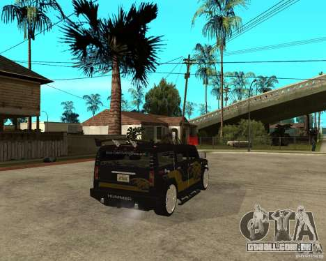 H2 HUMMER DUB LOWRIDE para GTA San Andreas traseira esquerda vista