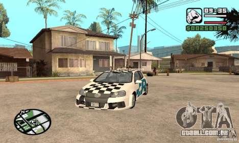 VW Golf R32 Tunable para GTA San Andreas vista interior