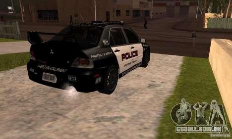 Mitsubishi Lancer Evo VIII MR Police para GTA San Andreas esquerda vista