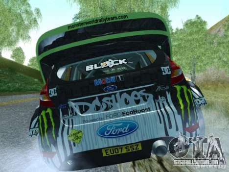 Ford Fiesta Ken Block Dirt 3 para GTA San Andreas traseira esquerda vista