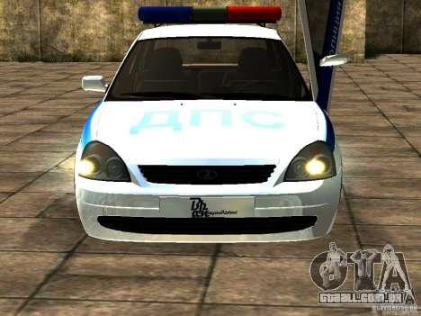 LADA 2170 polícia para GTA San Andreas esquerda vista