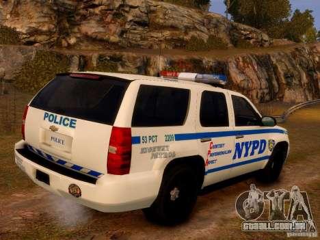 Chevrolet Tahoe New York Police para GTA 4 esquerda vista
