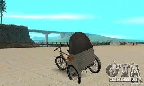 Manual Rickshaw v2 Skin1 para GTA San Andreas traseira esquerda vista